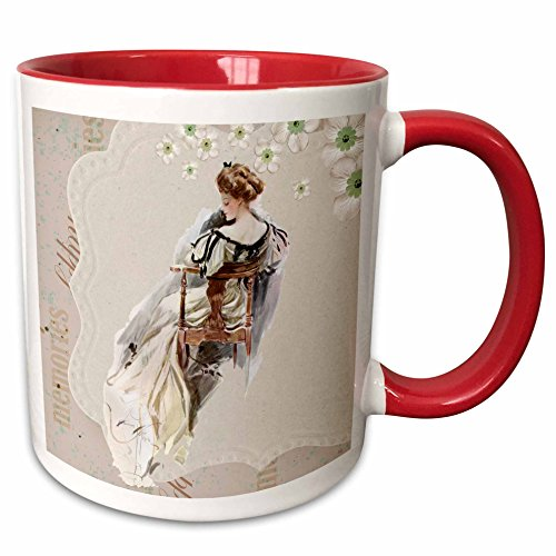 Spiritual Awakenings-Vintage - Victorian lady and floral pastel background - 11oz Two-Tone Red Mug (mug_218755_5)