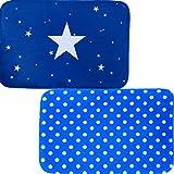 Home Improvement Decor Door Mat Set Of 2 Matching Non Skid Indoor / Outdoor Accent Rugs Plate Area Doormats, 24X16 Each - Blue Star Edition offers