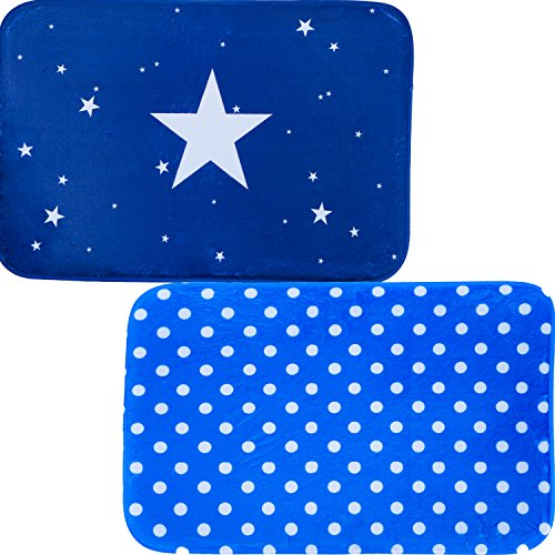 [Home Improvement Decor Door Mat Set Of 2 Matching Non Skid Indoor / Outdoor Accent Rugs Plate Area Doormats, 24X16 Each - Blue Star Edition] (Capel Traditional Rugs)