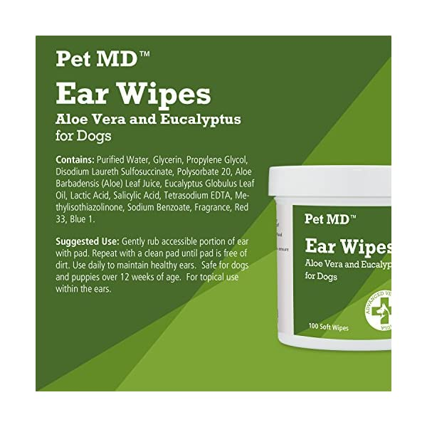 Pet MD - Dog Ear Cleaner Wipes - Otic Cleanser for Dogs to Stop Itching, Yeast and Mites with Aloe and Eucalyptus - 100 Count 4