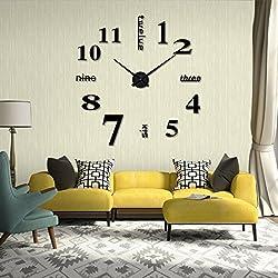 Iuhan Fashion Acrylic Modern DIY Wall Clock 3D Mirror Surface Sticker Home Office Decor (Black)
