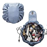 Portable Lazy Cosmetic Bag Travel Toiletry Pouch Large Capacity Organizer for Women and Girl - Organize Storing Toiletry Jewelry Care Tool in 10 Seconds by Drawstring Turns into Portable Pouch (Grey)
