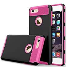 iBarbe iPhone 7 plus Case,iPhone 8 plus Case, Slim Fit Shell Rubber Hard Plastic Full Protective Anti-Scratch Resistant Cover Case for iPhone 7 plus (2016) / iPhone 8 plus (2017) - Black/rose