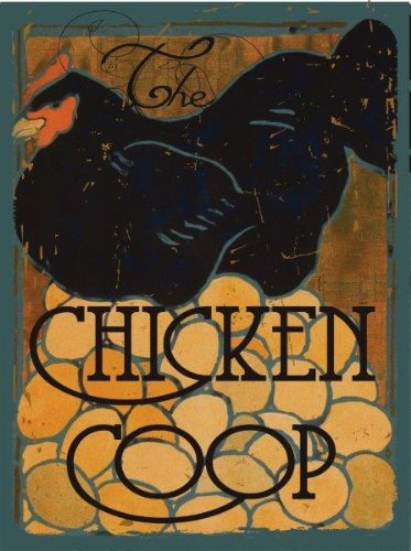The Chicken Coop Farm, Fresh Eggs and Poultry Metal Sign, Black Hen (Chicken Egg Bag)