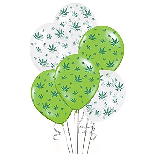 Marijuana Balloons 11in Lime Green and Crystal Clear with All-Over Print Green Marijuana Leaves Pkg/25