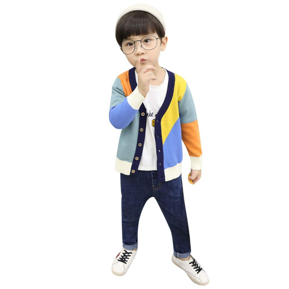 Londony▼ Clearance Sales,Little Boys Girls Colorblock Stripe Button Front Knit Sweater Pullover Sweatshirt Baby Clothes