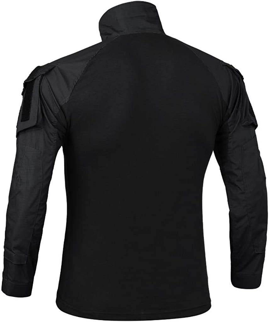 AKARMY Men's Tactical Military Army Combat T-Shirt Long Sleeve Slim Fit Camo Shirt with 1/4 Zipper: Clothing