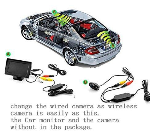 2.4G Transmetteur et r/écepteur sans fil prise RCA Vid/éo en couleur pour la cam/éra de recul du v/éhicule appareil photo frontal de voitures EMEBAY