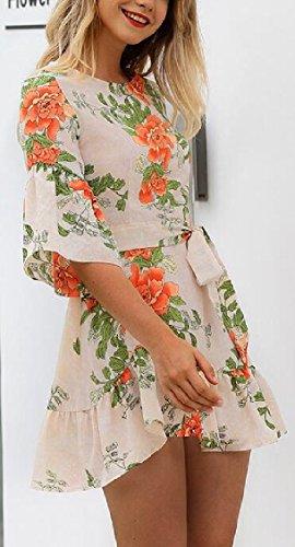 Jaycargogo Imprimé Floral Boho Femmes Casual Cloche Manches Courtes Mini Robe 3