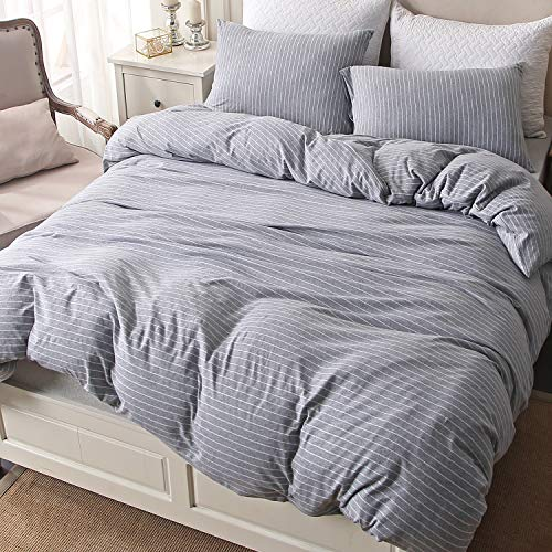 PURE ERA Bedding Duvet Cover Set 3 Piece Cotton Jersey Knit Soft Comfy Luxury Comforter Cover with Zipper Closure Modern Style - Gray/White Stripe, Full/Queen