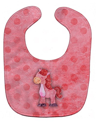 Caroline's Treasures Polka Dot Watercolor Baby Bib, Horse, Multicolor, Large ()