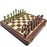 Alloy Chess Pieces Wooden Chessboard Chess Game Set with King Height 6.7cm Outdoor Game Chess
