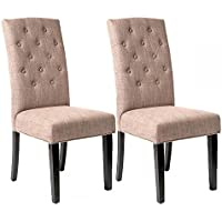 Set of 2 Coffee Fabric Contemporary Elegant Design Dining Chairs Home Room