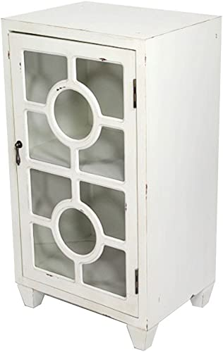Heather Ann Creations Free Standing Single Drawer Distressed Cabinet, 30 x 18 , White