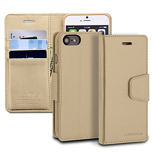 iPhone 8 Case, ModeBlu [Classic Diary Series] [Gold] Wallet Case ID Credit Card Cash Slots Premium Synthetic Leather [Stand View] for Apple iPhone 8 (2017)