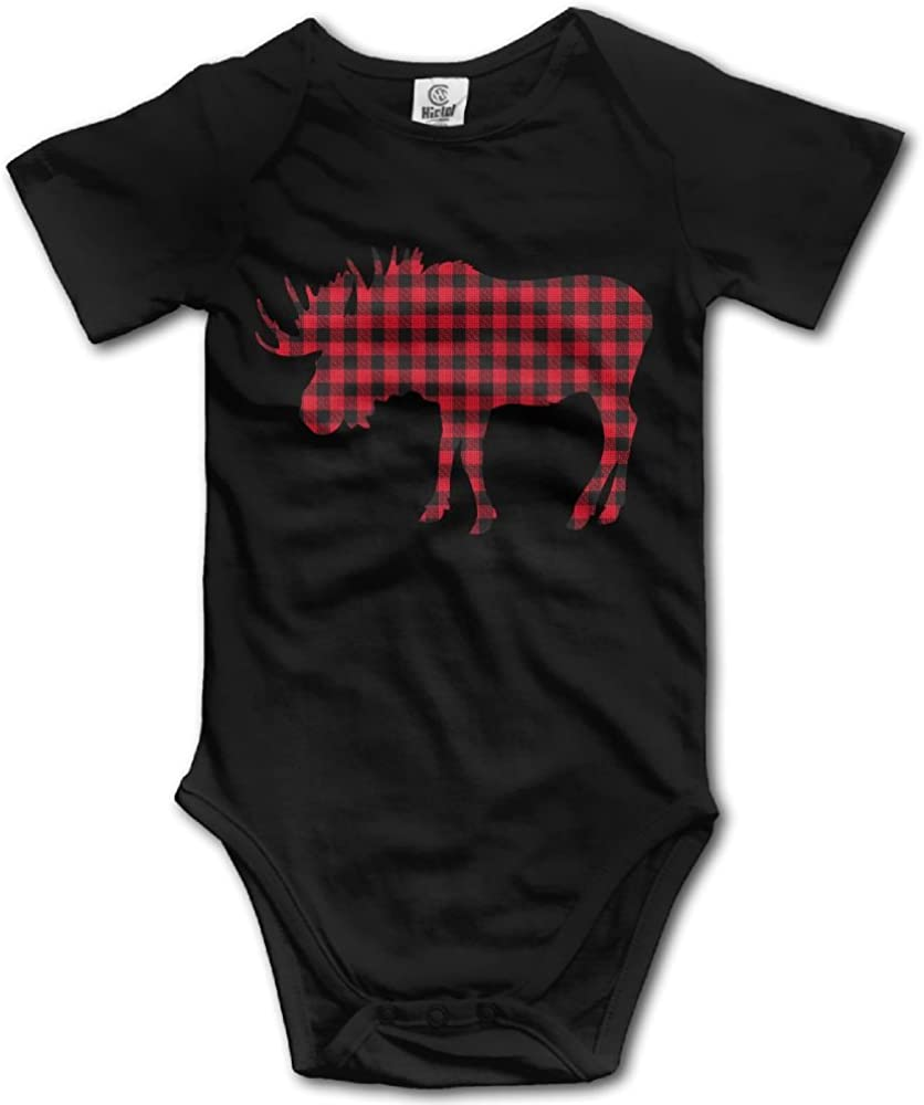 Moose in Flag of Norway Printed Newborn Baby Boy Girl One-Piece Suit Long Sleeve Outfits Black