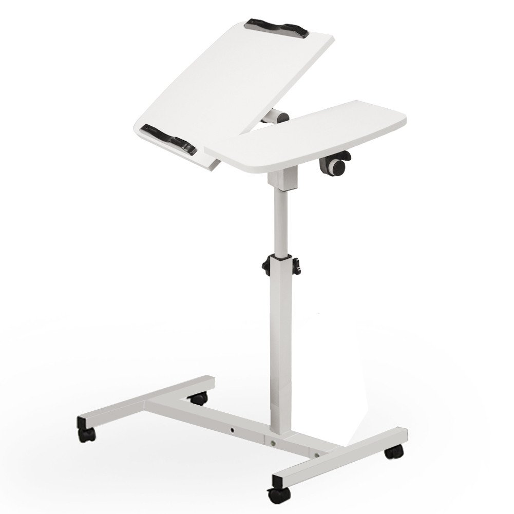 Simple Portable Laptop Desk Land Mobile Lift Bed Side Table Adjustable Overbed Bedside Table White Tilt Table for Hospital and Home [Ship from USA Directly]