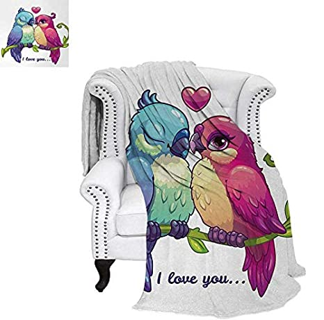 Amazon com: Throw Blanket Parrot Couple on The Branch with