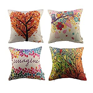 HOSL 4 Pack Cotton Linen Pillow Case Decorative Cushion Cover, Set of 4 (NO Pillow)