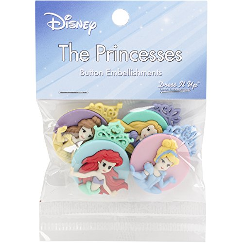 Dress It Up 7745 Disney Button Embellishments, Princess Assortment