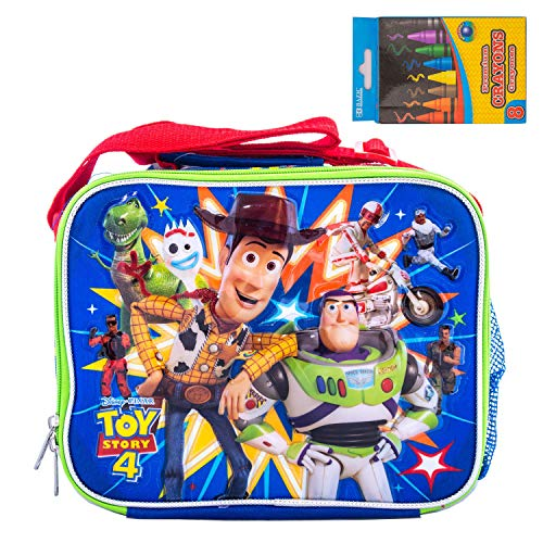 Disney Toy Story 4 Backpacks, Lunch Box Travel Luggage Daypack include a pack of crayon (Lunch Box) (Lunch Toy Story Disney)