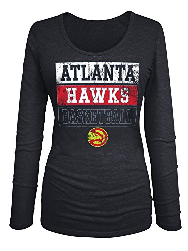 NBA Atlanta Hawks Women's Triblend Jersey Long Sleeve V Neck Tee, Large, Black