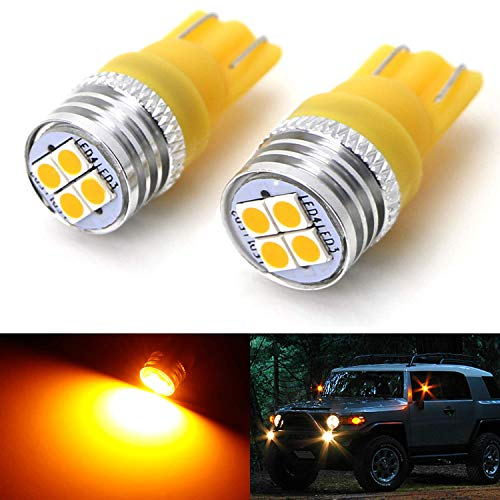 iJDMTOY (2) Amber Yellow 4-SMD High Power LED Side Mirror Replacement Bulbs For 2007-2014 Toyota FJ Cruiser