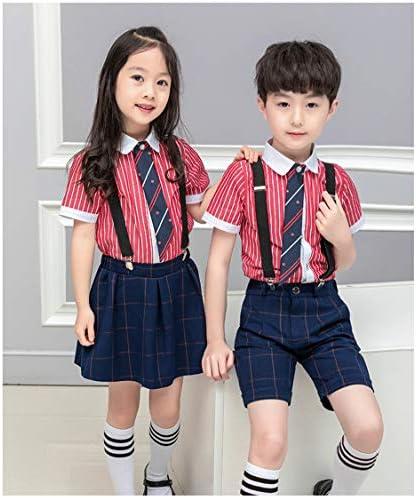 LJYH Kids Summer School Uniform Suits Boys/Girls Shirt Suspender Pants/Skirt  Tie Sets: Buy Online at Best Price in UAE - Amazon.ae