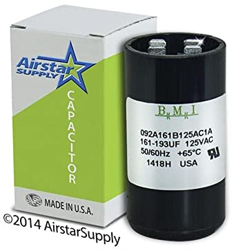 161-193 uF x 110 / 125 VAC - Packard PMJ161 Start Capacitor - BMI  Replacement # 092A161B125AC1A - Made in the USA