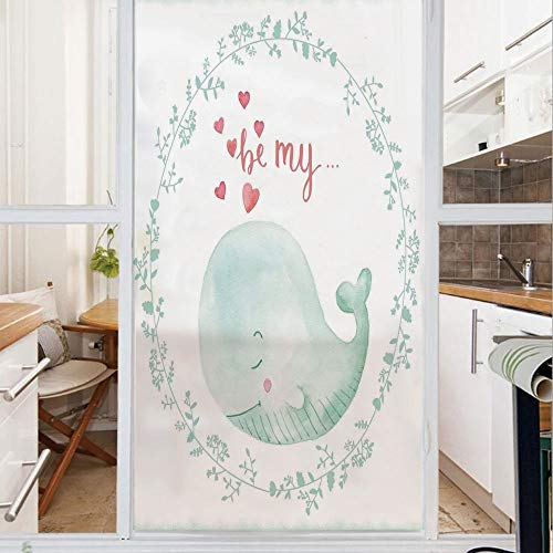 Decorative Window Film,No Glue Frosted Privacy Film,Stained Glass Door Film,Whale with Be My Love Quote Hearts inside Floral Wreath Romantic Marine Image,for Home & Office,23.6In. by 35.4In Almond Gre