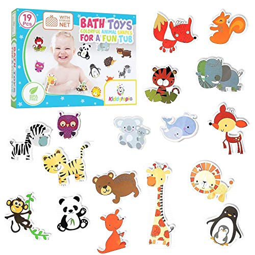 Kiddytopia Bath Toys Colorful Animals Shapes for A Fun Tub Bath Toy Foam Mold Free Organizer Storage for Toddlers Boys and Girls 19 Piece Non Toxic Kids Bath Set]()
