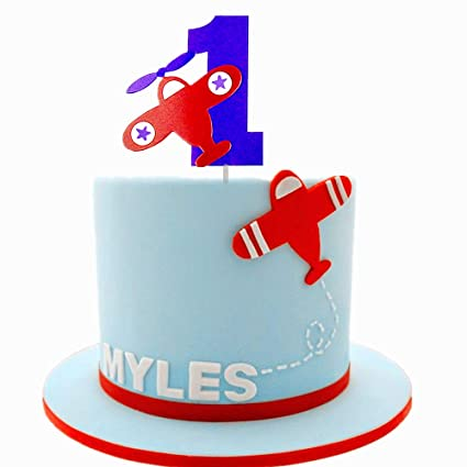 Amazon Com Jevenis Airplane Cake Topper 1st Birthday Cake Topper