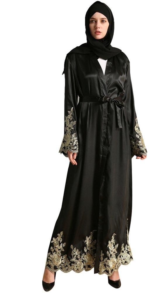 YI HENG MEI Women's Elegant Modest Muslim Islamic Satin Full Length Lace Embroidery Abaya Dress,Black,M