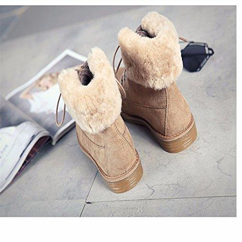 Stivali Da Neve In Caldi Martin Piatta Pizzo Grossi Hxvu56546 Stivali Velluto Più Stivali Stivali Invernali Brevi Kaki Stivali Donna 0EwZAH6