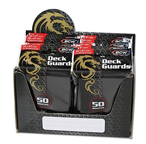 BCW 500 Count Deck Guard BLACK MATTE Finish for Stardard Size Collectable Cards - Deck Protector Sleeves [Display Bundle - 10 Packs] -