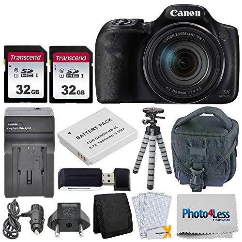 Canon PowerShot SX540 HS Digital Camera + 2x 32GB Memory Card + Camera Bag + Flexible Tripod + Replacement Battery & Travel Charger + USB Card Reader + Screen Protectors + Cleaning Cloth + Accessories (Best Small Canon Camera)