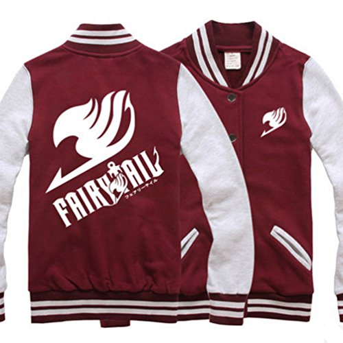 [Fairy Tail Cotton Baseball Uniform Unisex Cosplay Costume Autumn and Winter Coat (L, Wine red)] (Womens Baseball Costumes)