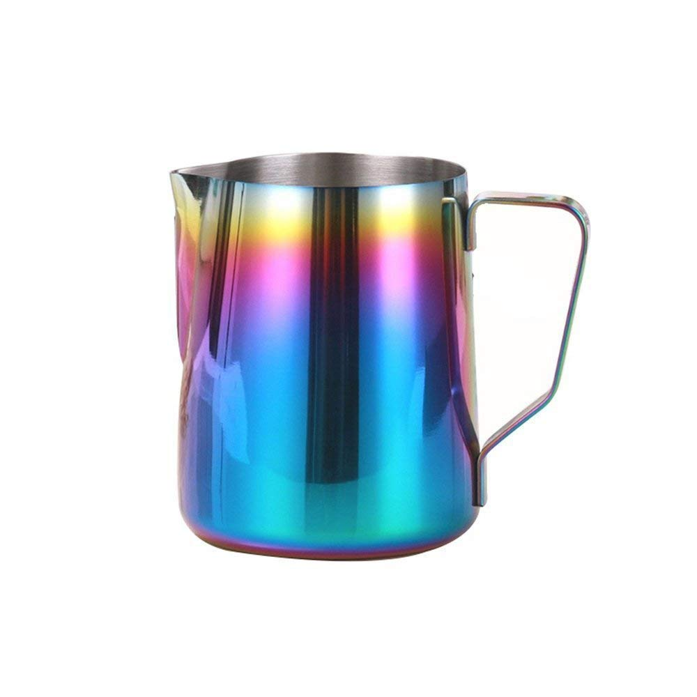 Milk Frothing Pitcher Stainless Steel - BEMINH Rainbow Color Custom Coffee Mugs - Milk Steaming Frother for Espresso Machines,Milk Frothers & Latte Art, Cappuccino Maker (12-Ounce/350ml)