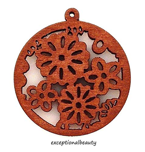 2 Brown Wood 38mm Wooden Bead Drop Components Retro Flowers Cutout Carved ()