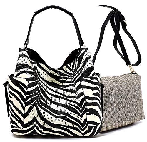 Le Miel Perforated Side Pocket Tote w/Inner Bag Crossbody- Animal Print (Zebra)