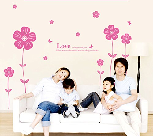 Decals Design 'Love Flowers' Wall Sticker (PVC Vinyl, 60 cm x 45 cm, Pink)