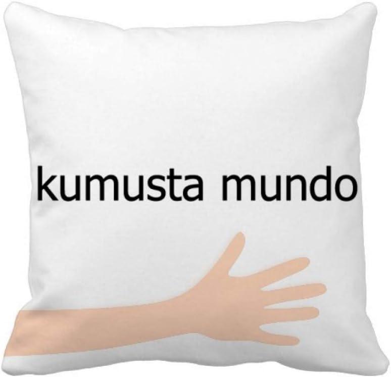 cold master DIY lab Hello World Filipino Hand Throw Pillow Square Cover