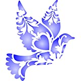 """Decorative Bird Stencil - (size 4.5""""w x 5""""h) Reusable Wall Stencils for Painting - Best Quality Wall Decor Ideas - Use on Walls, Floors, Fabrics, Glass, Wood, and More…"""