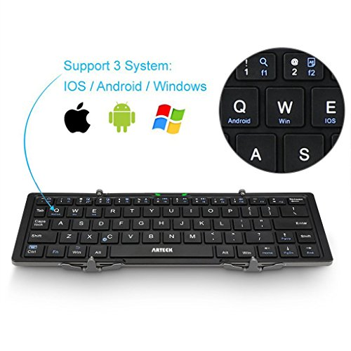Folding Bluetooth Keyboard, Arteck Portable Folding Bluetooth Keyboard Mini Wireless Keyboard for iOS iPad Air, iPad Mini, Android, MacOS, Windows Tablets Smartphone Built in Rechargeable Battery by Arteck (Image #2)