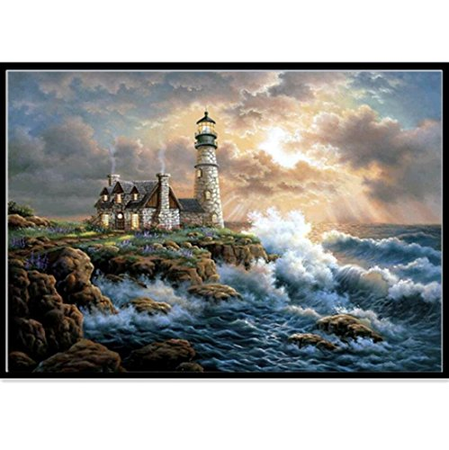 ing by Number Kits, Crystal Rhinestone Diamond Embroidery Paintings Pictures Arts Craft for Home Wall Decor,Tree House Red Wine Flower Dragon Girl Tiger Lighthouse Sea (B 35x30cm) (Flowers Lighthouse)
