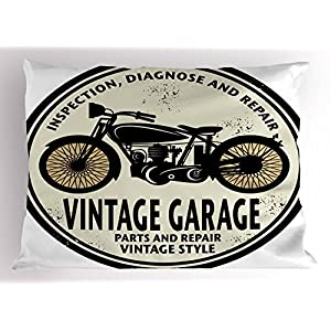 Man Cave Pillow Sham by Lunarable, Grunge Retro Rubber Stamp Vintage Garage Custom Motorcycle Repair, Decorative Standard Queen Size Printed Pillowcase, 30 X 20 Inches, Eggshell Black Light Orange