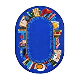 Joy Carpets Kid Essentials Language & Literacy Oval Read to Succeed Rug, Multicolored, 7'8'' x 10'9''