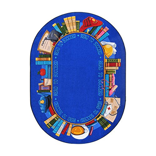 Joy Carpets Kid Essentials Language & Literacy Oval Read to Succeed Rug, Multicolored, 5'4'' x 7'8'' by Joy Carpets