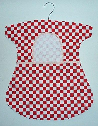 Klammerbeutel Baumwolle, ca. 38x43 cm, mit Bügel, Karo rot-weiß