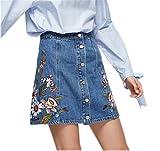 Women's Button Front Embroidered Denim A Line Short Skirt Jean Short Cute Skirts L Light Blue